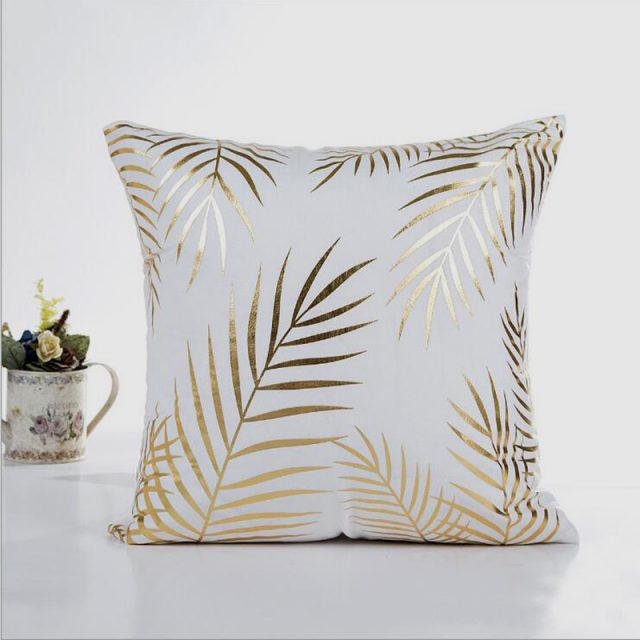 Gold Leaves Pillow Case